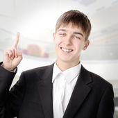 Teenager with Finger Up — Stock Photo