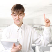 Student with Finger Up — Stock Photo