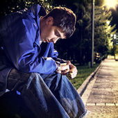 Sad Teenager in the Park — Stock Photo