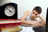 Tired Teenager doing Homework — Stock Photo