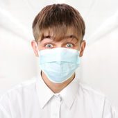 Teenager in Flu Mask — Stock Photo