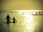 Mother and Son in the Sea — Stock Photo