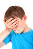 Sad Kid with sealed Mouth — Stock Photo