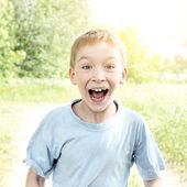 Surprised Kid outdoor — Stock Photo