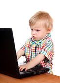 Baby Boy with Laptop — Stock Photo