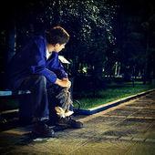 Sad Teenager at the Night Park — Stock Photo