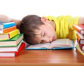 Tired Schoolboy sleeping — Stock Photo