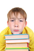 Sad Kid with a Books — Stock Photo
