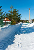 Snow-removed road in countryside — Stock Photo