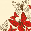 Beautiful vector background with red butterflies -  