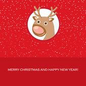 Tarjeta de navidad con renos lindos — Vector de stock