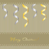 Christmas background with gold and silver ribbons — Stock Vector