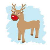 Christmas card with cute reindeer — Stock Vector