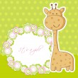 Baby girl shower card with cute giraffe and frame for your text — Stock Vector