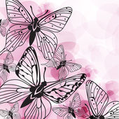 Beautiful vector background with pink butterflies and flowers — Stock Vector