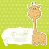 Chłopiec dziecko prysznicem karty ładny żyrafa — Wektor stockowy