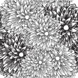 Black and white chrysamthemums. Seamless pattern — Stock Vector