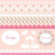 Set of cute scrapbook elements in pink and green pastel colors - Imagen vectorial