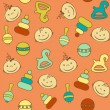 Multicolored seamless pattern with babies faces and toys - Vektorgrafik