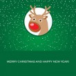 Christmas card with cute reindeer face - Imagen vectorial