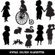 Set of vintage children and animals silhouettes — Stock Vector