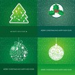 Set of four vector greeting cards with christmas elements - Imagen vectorial