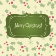 Christmas frame on seamless background with holly berry and snowflakes — ベクター素材ストック