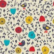 Seamless retro background with cute birds and flowers - Imagen vectorial