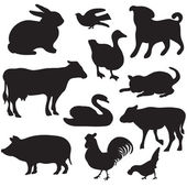 Silhouettes of hand drawn farm animals. Dog, cat, duck, rabbit, cow, pig, cock, hen, swan, puppy, kitten. — Stockvector