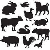 Siluetleri ile çizilmiş çiftlik hayvanları el. köpek, kedi, ördek, tavşan, inek, domuz, horoz, tavuk, kuğu, köpek, yavru kedi. — Stok Vektör