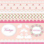 Set of cute scrapbook elements in pink and green pastel colors — Stock Vector