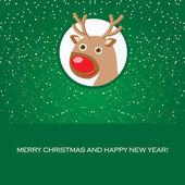 Christmas card with cute reindeer face — Stock Vector