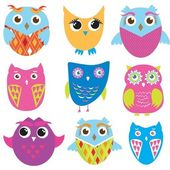 Set of cute owl birds — Stock Vector