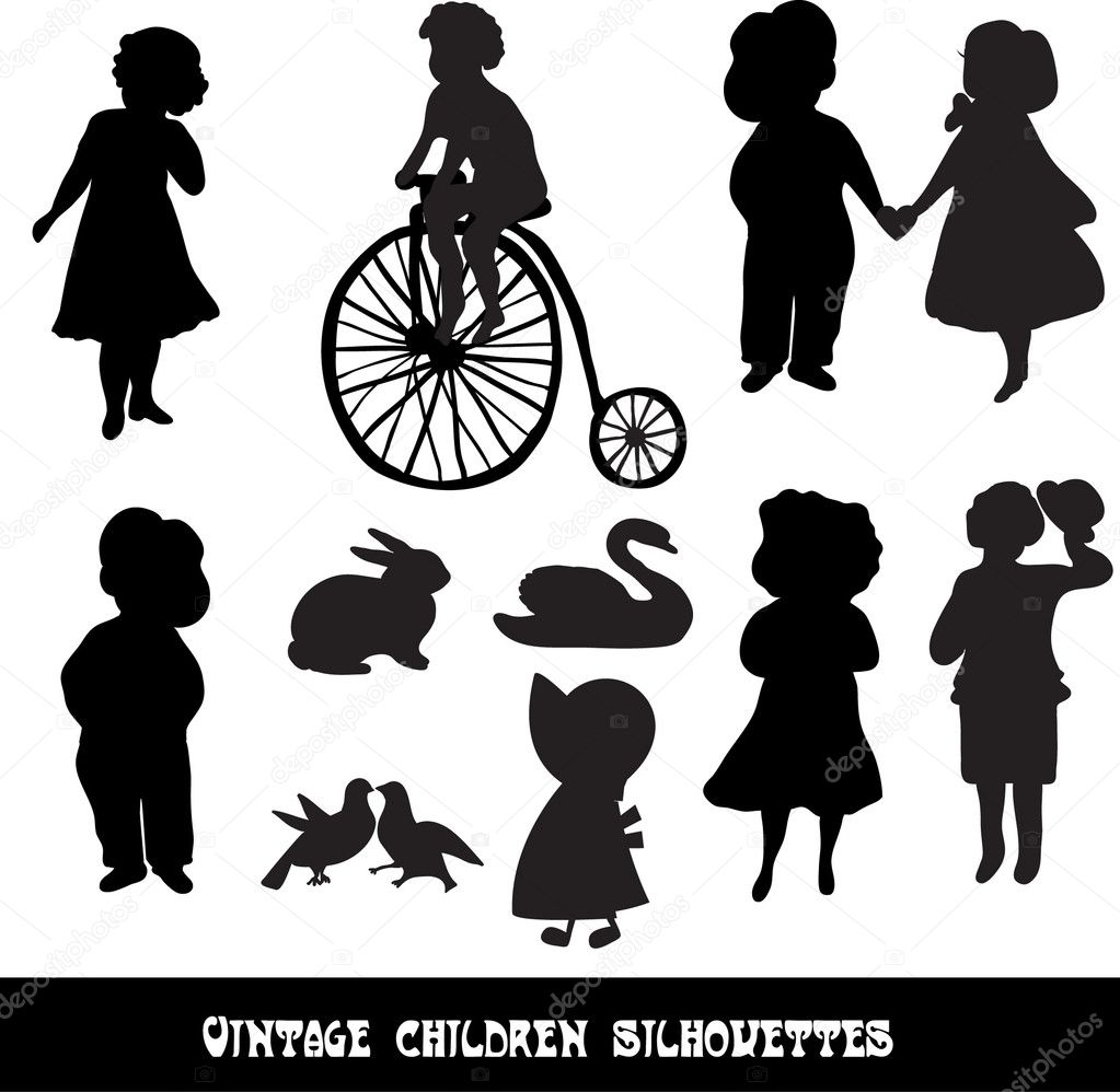 Set of vintage children and animals silhouettes — Stock Vector #17411945