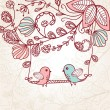 Cute greetings card with birds on a swing — Imagen vectorial
