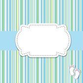 Bebé niño anuncio la tarjeta. ilustración vectorial — Vector de stock