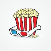 Popcorn and 3d glasses. Cinema concept background — Stock Vector
