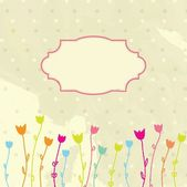 Cornice d'epoca vettoriale su sfondo floreale — Vettoriale Stock