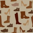 Seamless pattern with different kind of shoes. Boots, heels, shearling boots, riding boots and more. — Stock Vector