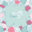 Wedding card with beautiful rose flowers on blue polka dot background — Stok Vektör