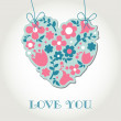 Love greetings card with floral heart — Stock Vector