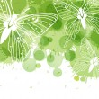 Beautiful vector background with butterflies and green spots — Векторная иллюстрация
