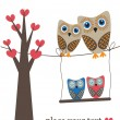 Owls on the tree. — Imagen vectorial