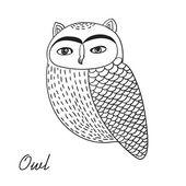 Cute hand drawn owl bird illustration — Stock Vector