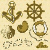 Vintage marine elements set. Includes anchor, rope, wheel, and shells. — Cтоковый вектор