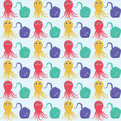 Seamless pattern with octopus and ramp. Easy editable. — Stock Vector