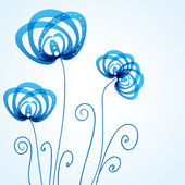 Blue floral background with abstract flowers — Stock Vector