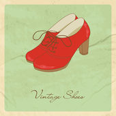 Red shoes on grunge background. — Stock Vector