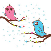 Birds in love. Vector illustration. — Stock Vector