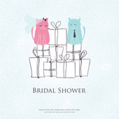 Bridal shower invitation card with two cute cats sitting on the present boxes — Vector de stock